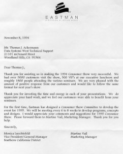 EastMan Letter Nov 1994
