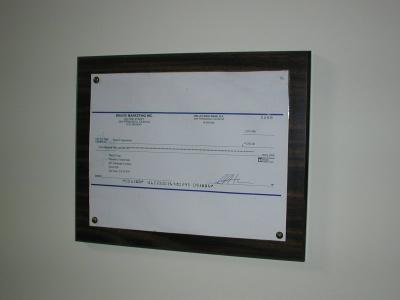 First Company Cheque