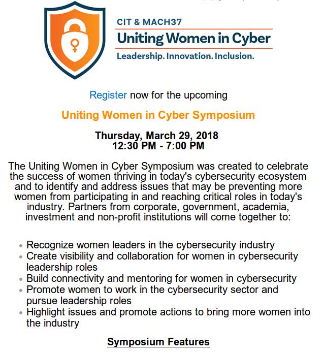 Uniting Women in Cyber - McLean VA - 29 MAR 2018