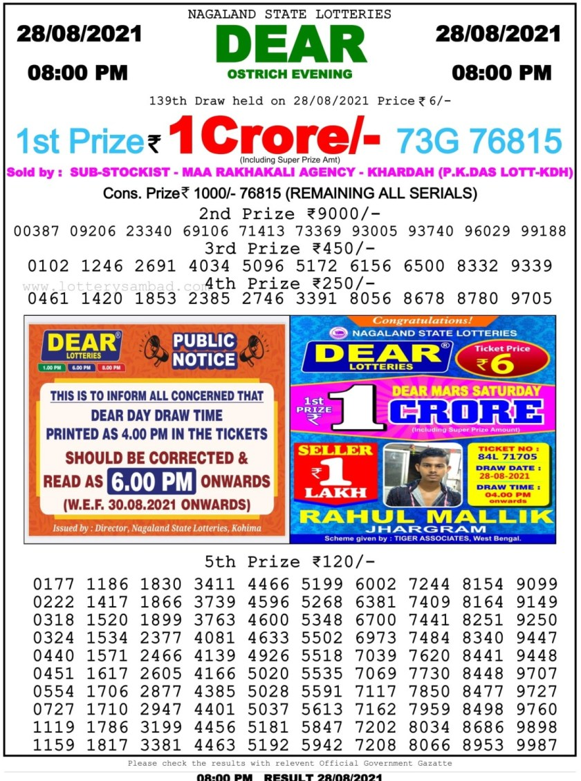 nagaland state lottery result 8 pm today