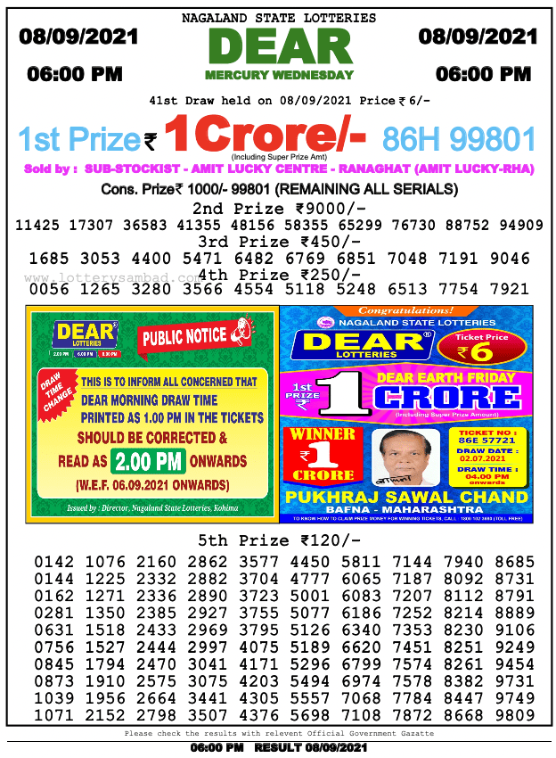 mercury wednesday weekly lottery result