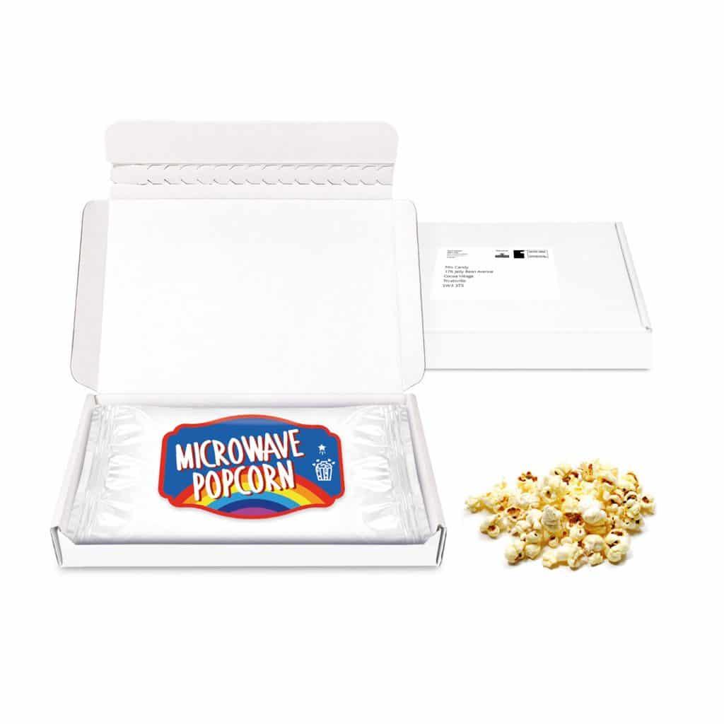 midi postal box microwave popcorn paper label