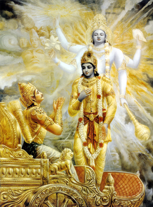 Picture of Krishna teaching Arjuna.
