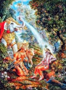 Indra junto a Surabhi oferecendo preces a Sri Krsna.