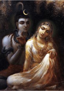 Siva instruíndo sua esposa Parvati