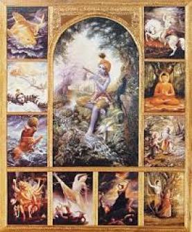Nos dez versos da primeira canção do primeiro ato do Sri Gita Govinda, Sri Jayadeva descreveu os passatempos encantadores dos avataras de Bhagavan Sri Krnsa.