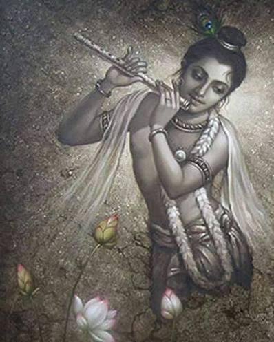 """Kamala significa """"flor de lótus. 'Os olhos de Krsna são como as pétalas de uma flor de lótus imaculada."""
