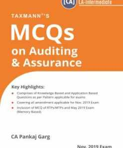 Taxmann's MCQs on Auditing & Assurance - New Syllabus by Pankaj Garg - (CA-Intermediate) - For Nov 2019 Exams