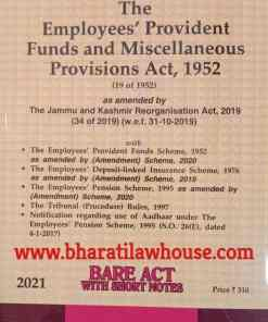 Lexis Nexis's The Employees' Provident Funds and Miscellaneous Provisions Act, 1952 (Bare Act) - 2021 Edition