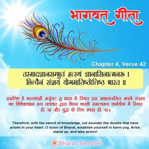 तस्मादज्ञानसम्भूतं हृत्स्थं ज्ञानासिनात्मनः । छित्वैनं संशयं योगमातिष्ठोत्तिष्ठ भारत ॥