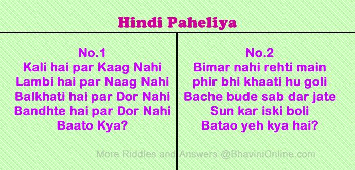 A Set of Whatsapp Hindi Word Riddles - Hindi Paheli