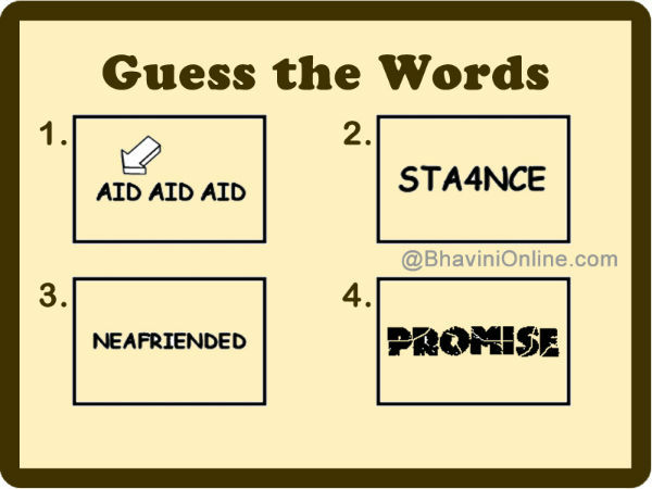 Guess These Words: STA4NCE, NEAFRIENDED | BhaviniOnline.com