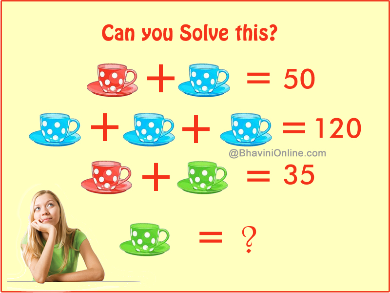 fun math riddle find the value of green cup. Black Bedroom Furniture Sets. Home Design Ideas