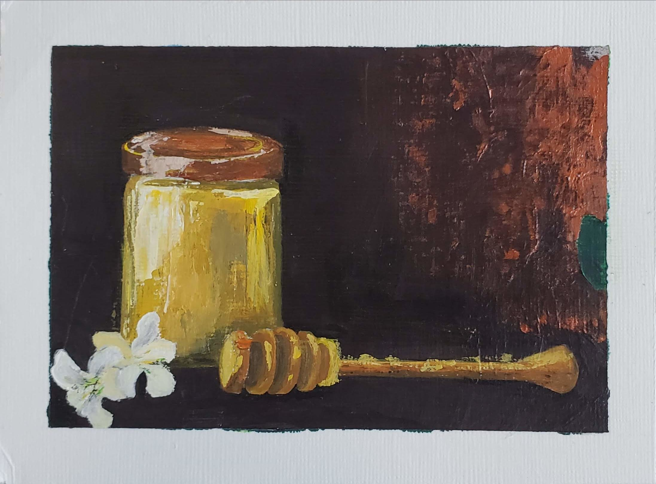 little bit of honey with some white blowers against dark brown and maroon background.