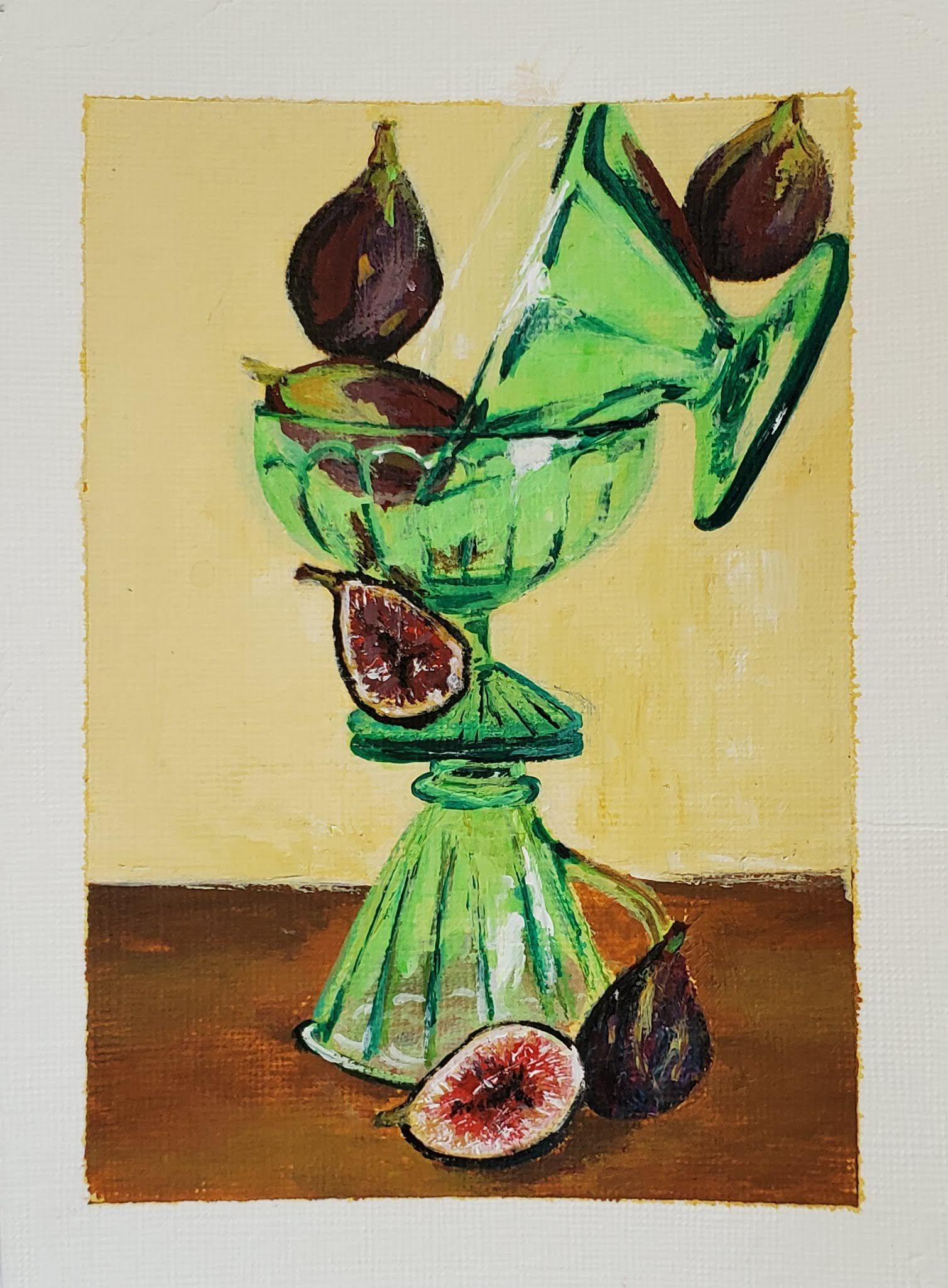 still life of balancing green glasses with some figs.