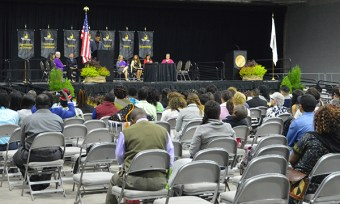 View of graduation stage from the audience