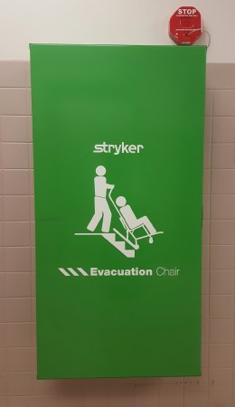 Stryker evacuation chair mounted on wall
