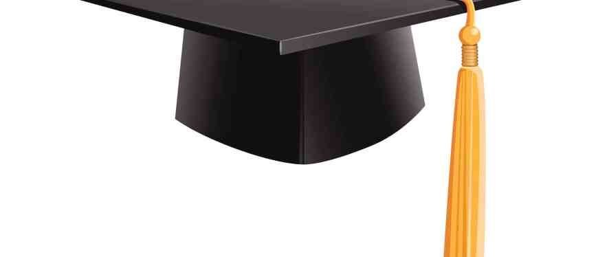 black graduation cap (mortarboard) with gold tassel