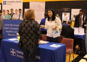 UnityPoint Health booth in the Quad-Cities Job Fair at Black Hawk College.