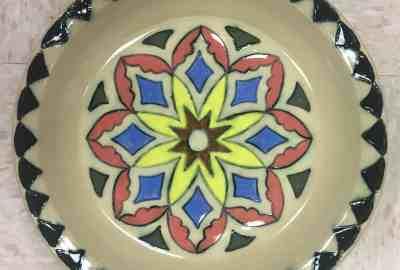 multicolored ceramic plate