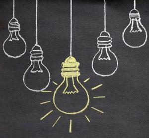 light bulbs drawn on chalkboard