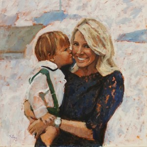 painting of woman getting kissed by toddler she's holding