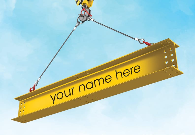 """illustration of beam hanging from hook with """"your name here"""""""