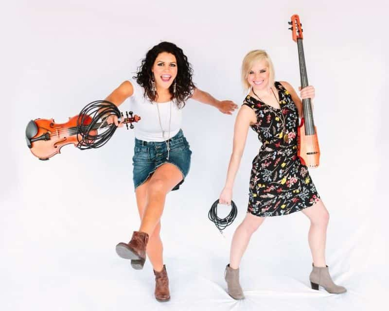2 female musicians with electric cello & violin