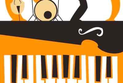 orange black white illustration 4 musicians & piano keys