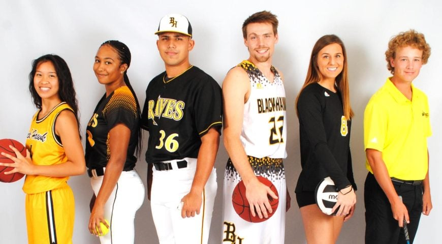 Player from each of the 6 sports teams at Black Hawk College