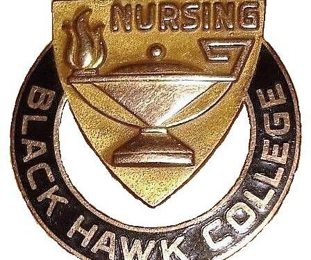 Black Hawk College Nursing circular metal pin