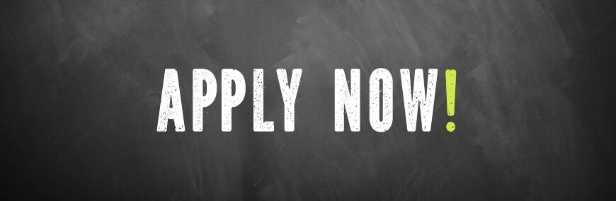 text Apply now! on chalkboard