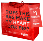 reusable shopping bag with text Does this bag make my heart look big?