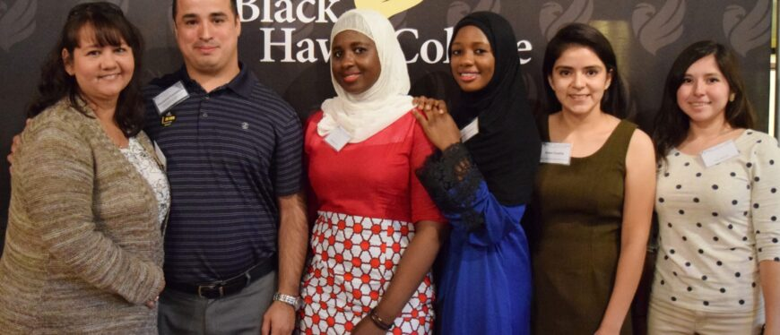 Group of student scholarship recipients at banquet