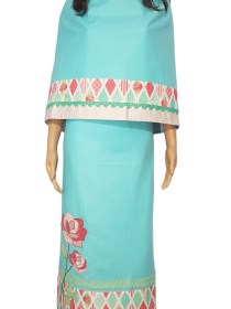 L Turquoise Linen Feel Material with Pink Rose work