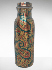 Beautiful Peacock color printed Copper Water Bottle (500ml)