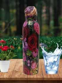 Black with Red Roses Print Copper Bottle (500ml)