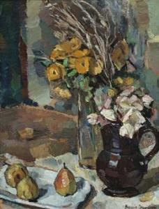 Lot 31, Bessie Davidson, Still Life with Flowers and Pears, est. $50,000-$70,000. Delicious