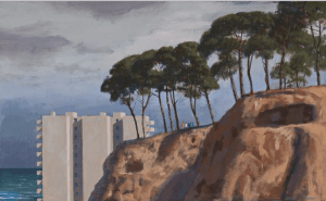 Lot 34, Jeffrey Smart, First Oil Study for Ring-a-rosy, 1986, est. $50,000-$70,000. Frolic