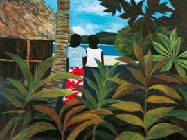 Lot 51 - Ray Crooke, Island Afternoon, est. $30,000-40,000. Your Treasure Island?