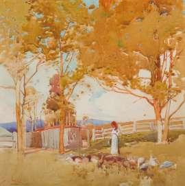 Lot 244 - Sydney Long, Summer Pastoral, est. $4,000-6,000. Divine