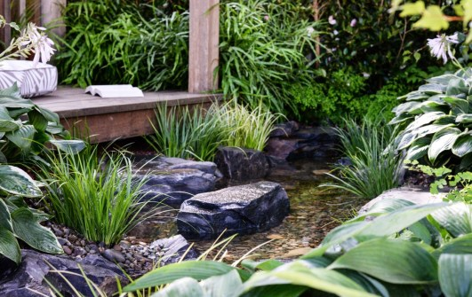 Stepping stones in stream leading to a pergola