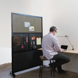 Home office work bench and room divider