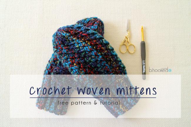 Woven Crochet Mittens Pattern Tutorial Bhooked Crochet