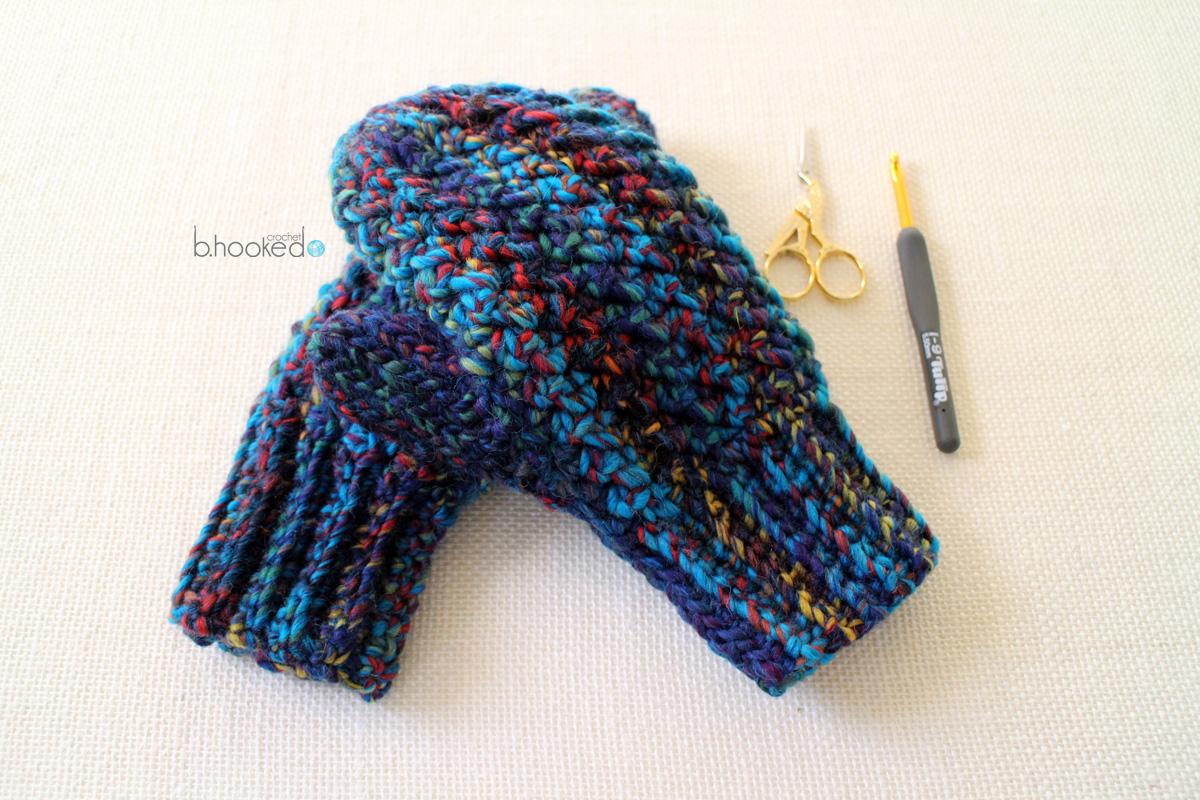 Woven Crochet Mittens - Pattern & Tutorial - B.hooked Crochet