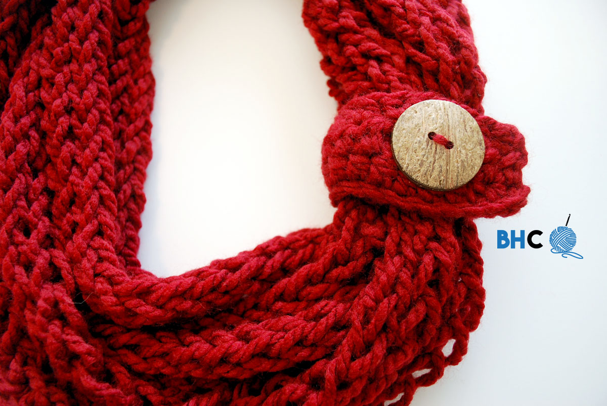 Finger Knit Infinity Scarf B Hooked Crochet