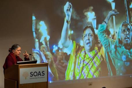 Vandana Shiva speaking at he 'Globalisation Since Bhopal' lecture at SOAS University © Francesca Moore