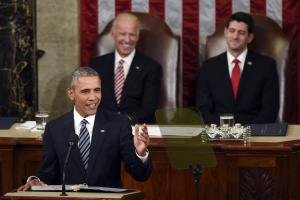 Vice President Joe Biden and House Speaker Paul Ryan of Wis., listen as President Barack Obama gives his State of the Union address to a joint session of Congress on Capitol Hill in Washington, Tuesday, Jan. 12, 2016. (AP Photo/Susan Walsh) ORG XMIT: CAP120