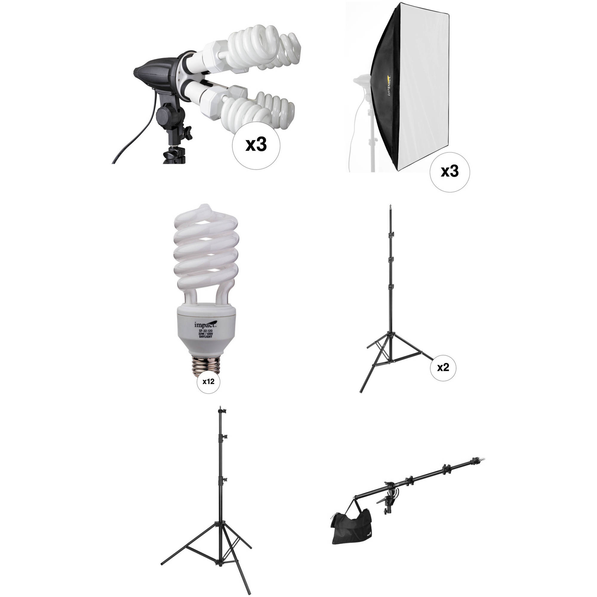 Impact 3 Head Fluorescent Lighting Kit With Boom Arm Kit B Amp H