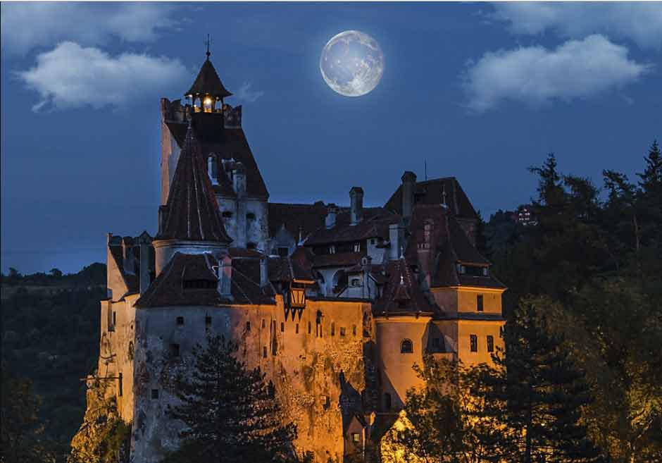 dracula castle in full moon